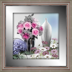 Top Quality 3D Flower Framed Painting with Mirror Border Silver Frame for Home Decoration
