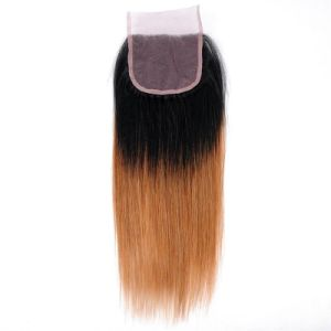 "Brazilian Hair Straight Women Hair Weave Color 1b/30 100% Human Hair Bundles with Closure Free Shipping 16"" pictures & photos"