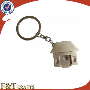 Cheap Custom Fashion Promotional House Shaped Debossed Metal Keychain pictures & photos