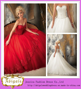 High Quality Brand Name Red Wedding Dresses with Sweetheart Lace up Back Appliqued Bodice Organza Skirt (MN1590)