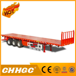 2016 New Design Fuwa Axle Container Flatbed Semi Trailer with Front Wall