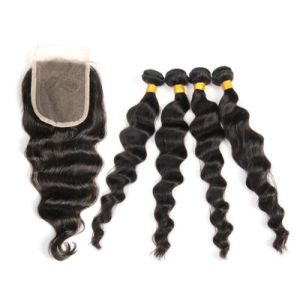 20 Inch Loose Wave 3 Bundles Malaysian Straight Hair Bundles with Lace Closure From Stock