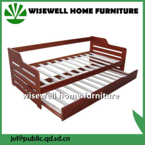 Solid Pine Wood Day Bed with Trundle in White Wash pictures & photos