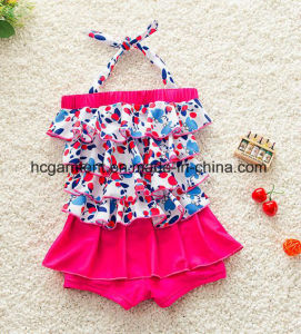 Kids Girl′s Swimming Pleated Skirt Bikini, Lace Lovely Swimming Suit pictures & photos