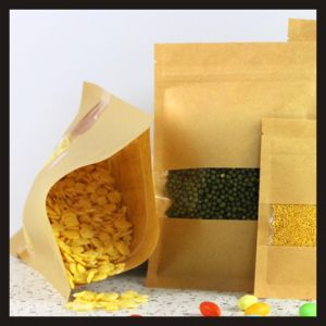 Resealable Kraft Paper Packaging Bag with Window for Cereals, Candly, Tea pictures & photos