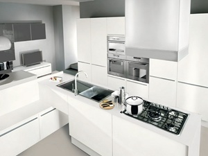 Quality Guaranteed Modern Simple White Lacquer Finish Kitchen Cabinets