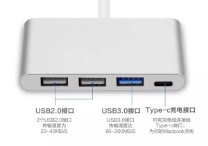 """4-in-1 USB-C Hub with Type C, USB 3.0, USB 2.0 Ports for New Apple MacBook 12"""" / New MacBook PRO 13"""" 15"""" / Chromebook Pixel and More, Multi-Port Charging pictures & photos"""