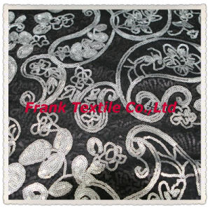 Sequin Design on Mesh -Flk159