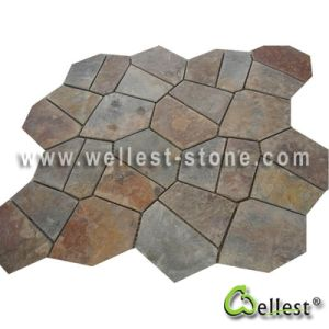 S015 Rustic Brown Multi Color Slate Meshed Paving Stone pictures & photos