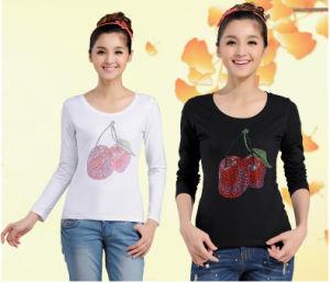 Cherry Rhinestone Transfers White and Black Tshirt