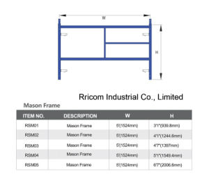 Powder Coated S-Style or W-Style Scaffold Mason Frame pictures & photos