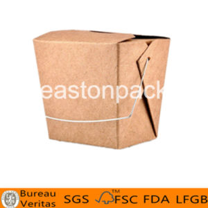 26oz Disposable Take Away Square Bottom Iron Handle Paper Noodle Box pictures & photos