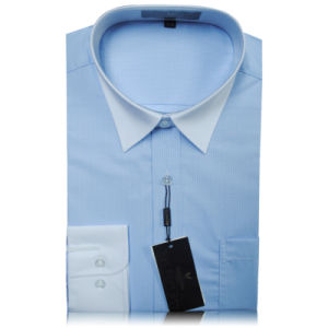 2016 Light Blue Leisure Blouse Check Men Shirt