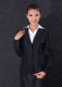 2016 New Fashion Style Lady Business Suit Women Black Striped Suit (DSL-3528)