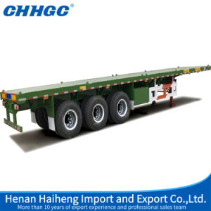Low Price Container Flatbed Semi-Trailer with 12PCS Twist Lock pictures & photos
