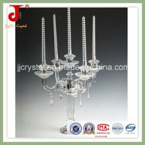 Crystal Glass Candle Holder with Hanging Crystal pictures & photos