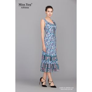 Miss You Ailinna 100938-1 Dress Distributor Blue Floral Slip Dress New Design Beach Dress pictures & photos