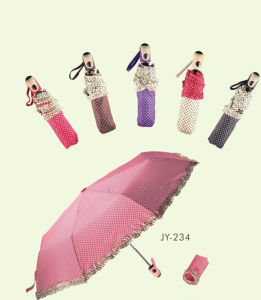 Automatic Open and Close Lace Edge DOT Printing 3 Fold Umbrella (JY-234) pictures & photos