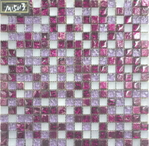 Floor/Wall Tile Mosaic, Crystal Glass Mosaic, (VM15013)