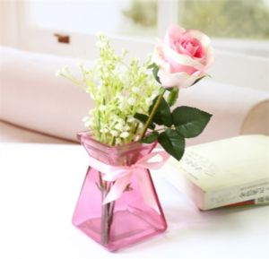 Hot Sell Glass Vase Colour Glass Bottle Glass Pink Vase pictures & photos