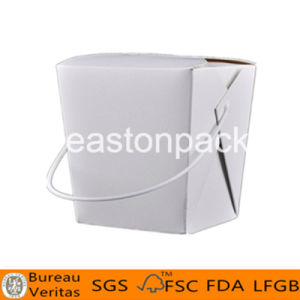 26oz Take out Square White Paper Noodle Box with White Handle pictures & photos