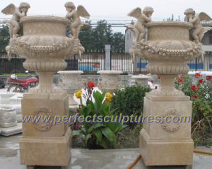 Stone Marble Garden Flower Planter for Outdoor Sculpture (QFP249) pictures & photos