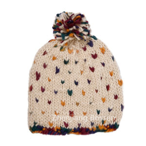 Custom Made 100% Acrylic Cute Polka DOT Girls Snow Hat Jacquard Co Beanie pictures & photos