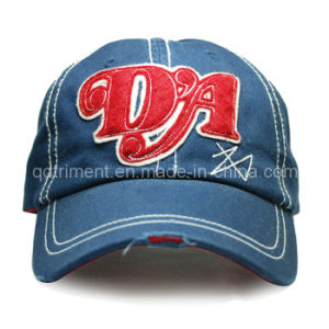 Grinding Washed Felt Applique Embroidery Sport Baseball Cap (TRB044) pictures & photos