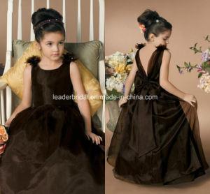 Brown Organza Flower Girl Dresses Princess V-Neck Junior Bridesmaid Dresses F189 pictures & photos