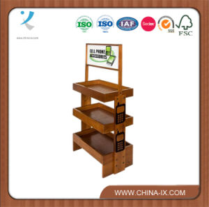 Customized 3 Tier Wood Display Shelf with Wheels pictures & photos