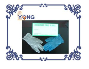 Blue/Clear/Black Plastic Vinyl Gloves