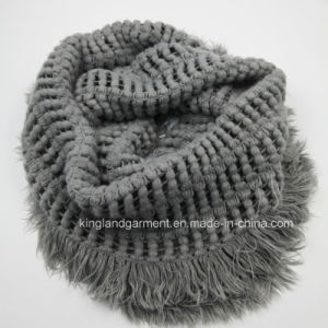 100% Acrylic Fashion Brown Warp Knitted Neck Scarf with Fringe pictures & photos
