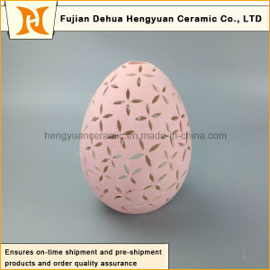 New Product Pink Egg Shape Ceramic Tealight Candle Holder pictures & photos