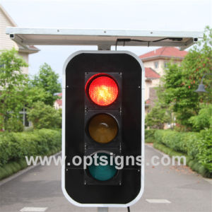 "European Market Energy Saving Customized Warning Flashing LED Full Screen 12"" Solar 4 Way Traffic Light Signal Structures pictures & photos"