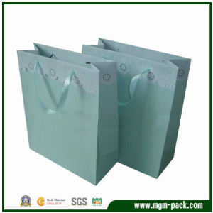 Elegant Custom Light Blue Promotional Paper Handbag pictures & photos