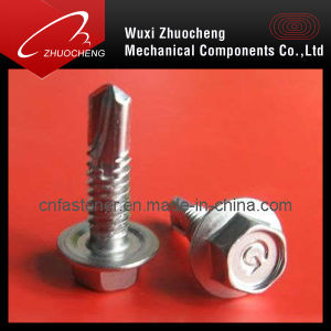 DIN7504 Hex Self Drilling Screws with Rubber Washer pictures & photos