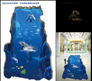 Dolphin Sea 3D Floor Sticker pictures & photos