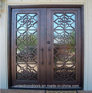 Modern Square Top Front Wrought Iron Double Door (UID-D031) pictures & photos