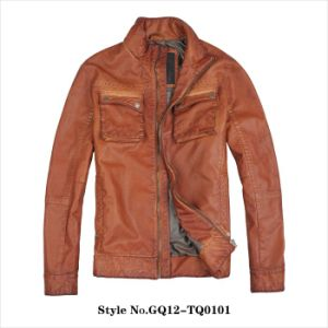 Men′s High Quality PU Leather Jacket pictures & photos