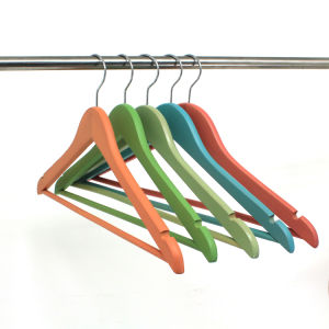 Custom Colorful Shirt Top Wood Hanger for Wholesale, Wooden Clothes Hanger Hangers for Jeans pictures & photos