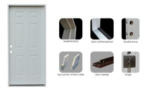 Center Arch Glass Inserted Prehung Steel Door pictures & photos