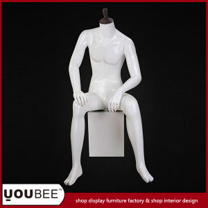 Sitting Male Fiberglass Mannequin with Square Pillar in Glossy White pictures & photos