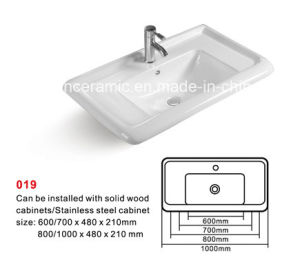 Cabinet Basin (NO. 019) Rectangular Ceramic Basin with Backsplash pictures & photos