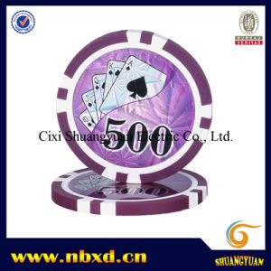 14G 2-Tone 8 Stripe Clay Poker Chip with Customized Laser Sticker pictures & photos