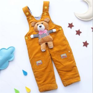 P1122 Free Shipping Winter Baby Boys and Girls Corduroy Suspender Trousers Overalls Little Bear Toddlers Jumpsuit Outfit Garments pictures & photos