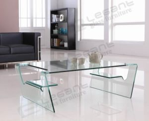 Transparent Glass Center Table With Curved Shape