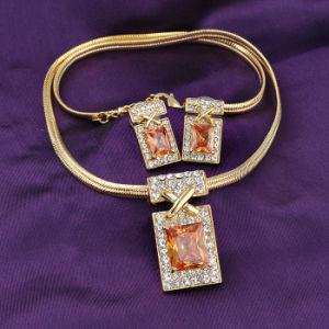 Big Stone Retangle Shape Display Design Gold Jewelry Set pictures & photos