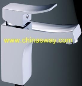 Square Basin Faucet, Bathroom Tap, Chrome + White (SW-7765Q1G) pictures & photos
