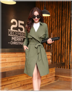 2015 Autumn New Fashion Long Belted Jacket pictures & photos