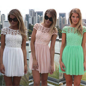 2015 Summer Women Lace Dress Backless Ladies Chiffon Dress (50098) pictures & photos